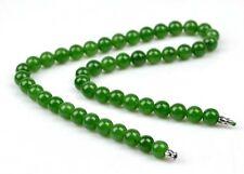 "18"" A Grade Natural Green Nephrite Jade Beads Necklace w/ Certificate"