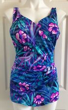 MAXINE HOLLYWOOD One Piece Swimdress Ruching Pin Up Floral Modest Vintage 18