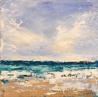 Original Painting Art Artwork Impressionist Seascape Mirage  II 6x6 Canvas