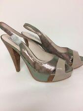 Steve Madden Leather Beige Sparkle Platform Heels Sandal Slingback Sz 7 NEW