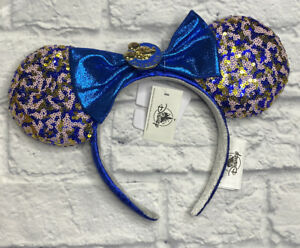 Disney Parks WDW 2021 Annual Passholder Blue Sequined Minnie Mouse Bow Ears New