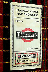 LONDON'S UNDERGROUND TRAMWAYS TRAM ROUTE MAP 1925 repro limited edition 66/250