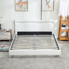 LED Bedroom Double Leather Platform Slat Bed Frame Headboard Light Queen Size