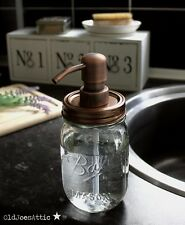 Palla Mason Jar Dispenser di sapone in vetro RUSTICO CON POMPA in rame antico e coperchio * Regno Unito