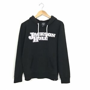 Jackson Hole Women's XL Graphic Hoodie Sweatshirt Black Hood Pocket '47 A3