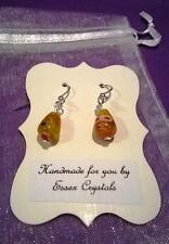AMBER COLOURED MILLEFIORI GLASS teardrop shaped handmade earrings