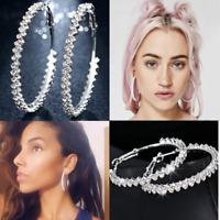 Big Round Hoop Crystal Earrings Silver Plated 42mm-52mm Large Women Ladies Gift