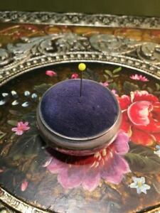 Antique Large Solid Silver Sewing Pin Cushion - Hallmarked With Blue Fabric