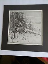 1904 A.B. FROST...CARIBOU HUNT.....ALREADY MATTED,  FOR CABIN. MAN CAVE