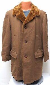 vtg Zero King LIGHT BROWN HEAVY WOOL COAT sz 42 Fleece Lining buttons 60s/70s L