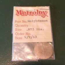 """3.585 grams .13oz Ounce oz molybdenum Target Coin Disk 99.97% Fine .875"""" diamete"""