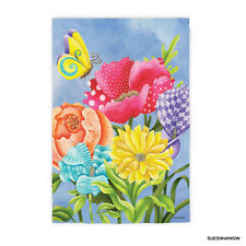 Garden Flag Floral Bundle and Butterflies Evergreen Presents Suede Reflections
