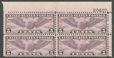 1931 5c VIOLET AIR POST PLATE #20607 BLOCK MINT #C16 TR plate MHR $75.00
