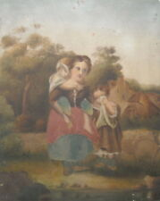antique CHARMING FOLK ART PAINTING MOTHER AND TWO CHILDREN