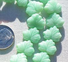 (10) Czech Glass Beads - 13x11mm Maple Leaf - Mint Green Silk CRJ200500