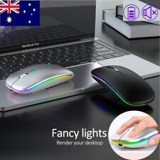 Slim Wireless Mouse Silent USB Mice Bluetooth Rechargeable RGB For PC Laptop AU