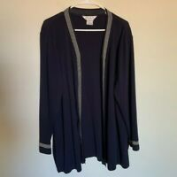 Misook Cardigan Womens 2X Open Front Black Acrylic