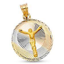 Crucifijo Jesús Moneda Colgante 14k Amarillo Blanco Oro Rosa RELIGIOSO Sólido