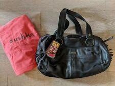 Oushka Black Leather Bowling Bag Satchel Handbag