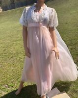 Vintage 70s Radcliffe Pink Sheer Chiffon Nightgown Negligee Robe Peignoir Gown
