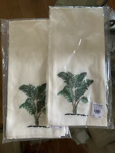 Pottery Barn Embroidered Guest Fingertip Towels Palm Tree Set Of 2 Ivory Green