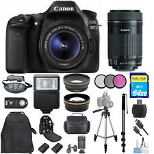 Canon EOS 80D DSLR w/ 18-55mm AND 55-250MM IS STM Lens BUNDLE W/ 1 Yr Warranty