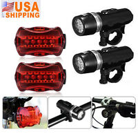 Waterproof 5 LED Lamp Bike Bicycle Front Head Light+Rear Safety Flashlight 2 Set