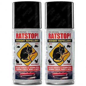 2 x E-Tech Rat Stop Mice Rabbit Squirrel Rodent Repeller Deterrent Spray 150ml