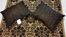 Luxury Designer Black and Caramel Floral Chenille Throw and Set of Black Pillows