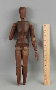 Antique circa-1900 15in Carved & Jointed Wood Figure Articulated Artist Model NR