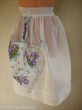 Vintage Apron Cotton Organdy Purple Rose Hankerchief Pretty!