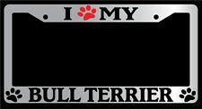 Chrome License Plate Frame I Heart My Bull Terrier (Paw) Auto Accessory -320