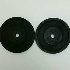 Two 25 Pound National Fitness BFCO Black Cast Iron Weight Plates. 50#'s Total.