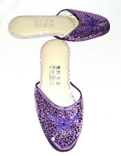 Vintage 1950s Hwan Gong Purple Sequins Womens Shoes Size 10M Hong Kong Nwob Nos