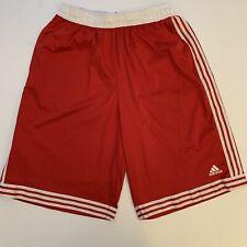 ADIDAS Mens Basketball Shorts Red 3 Stripe Athletic Large Long Nice!!