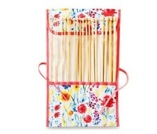 Bamboo Knitting Needles 10 Pairs 35cm With Cotton Storage Bag 10 Sizes Polished