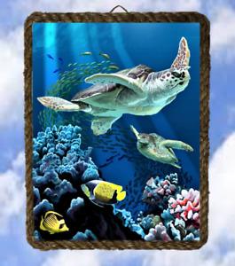 Beach Ocean 6 Wall Decor Art Prints Sea Turtle lalarry Vintage framed