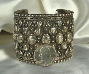 """Huge STERLING SCARAB Bracelet 85.6g 1962-64 EGYPT Hallmarks 2-1/8"""" WIDE So Fine!"""