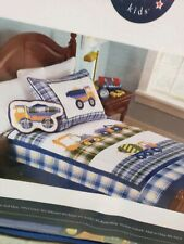 "New Authentic Kids TWIN Quilt ""Work Trucks"" 69""x86"" Construction Toddler Bedding"