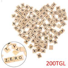 200 Stk Scrabble Spielsteine Holz Schwarze Buchstaben Alphabet Brettspiel