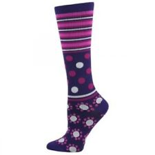 Purple Stripe & Dot Medical Nurse 8-14mmHG Fashion Compression Socks