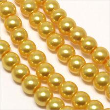 100 perles Nacrées 4mm Or jaune en verre de Bohème