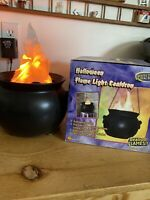 GEMMY 2002 HALLOWEEN FLAME LIGHT CAULDRON WITH SOUNDS