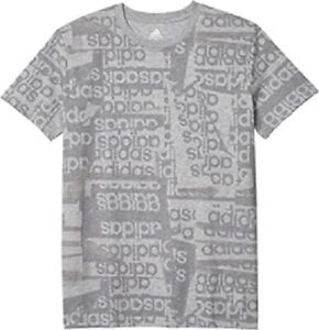Adidas Core Linear Print Heather Grey Tee T-Shirt Youth Boys Size Medium (10/12)