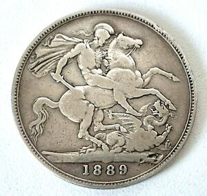 Queen Victorian Solid Silver 1889 - CROWN COIN