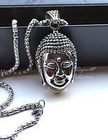 Stainless Steel Silver 3d Buddha Head Men Women Pendant w Chain Necklace Unique