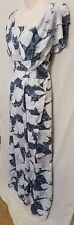 BNWT size 10 FATE sleeveless straps frilled dress floral blue white split wrap