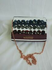 Ted Baker Crossbody Purse Jewels Red White Blue Patriotic Colors Rose Gold Chain