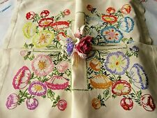 VINTAGE HAND EMBROIDERED TABLECLOTH/ BEAUTIFUL FLOWERS