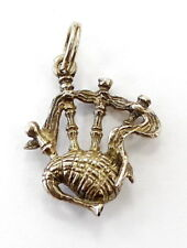 9k Yellow Gold Bagpipes Instrument Charm Necklace Pendant ~3.0g